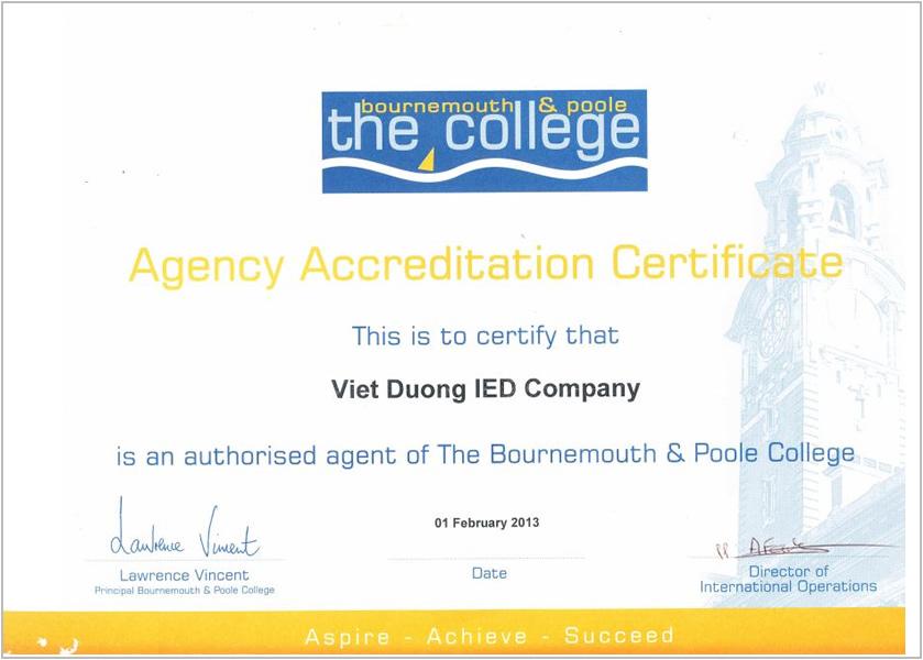 Certificate- Bournemouth college