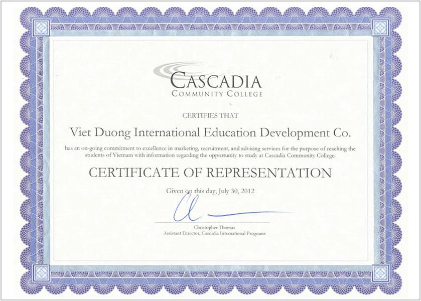 Certificate- Cascadia College