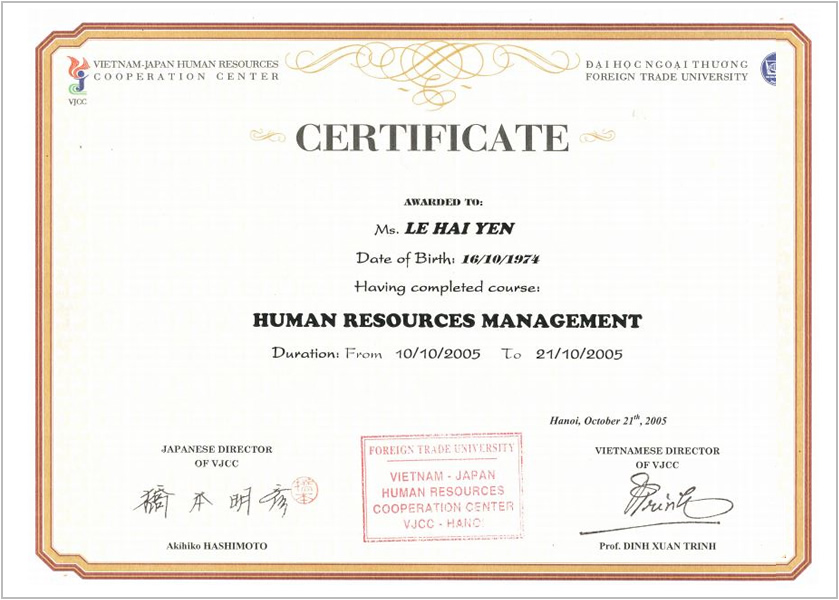 Certificate- Foreign Trade Uni