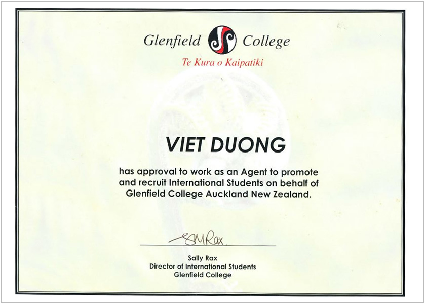 Certificate- Glenfield College