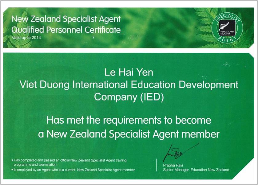 Certificate- New Zealand